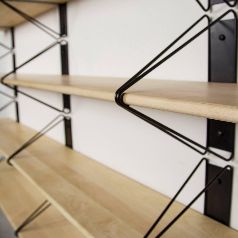 Oiled Customizable Set of 2 Strut Shelves from Souda, Black and Maple, Made to Order For Sale