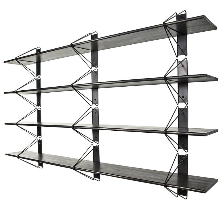 American Customizable Set of 6 Strut Shelves from Souda, Black, Modern, Made to Order For Sale