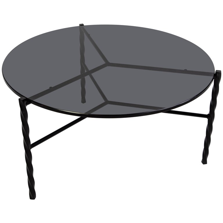 Customizable Von Iron Coffee Table from Souda, Black and Glass, in Stock For Sale