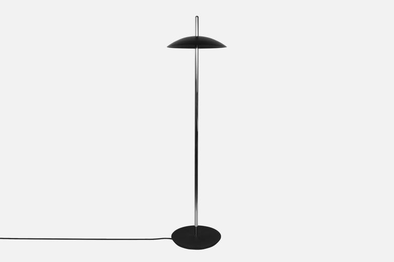 American Customizable Black X Brass Signal Floor Lamp from Souda For Sale