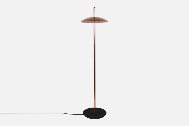 Machine-Made Customizable White and Nickel Signal Floor Lamp from Souda, Made to Order For Sale