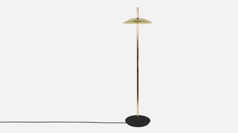 American Customizable White and Brass Signal Floor Lamp from Souda, in Stock For Sale