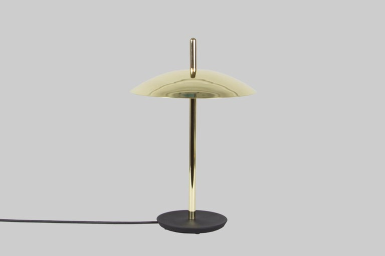 American Customizable Signal Table Lamp from Souda, Black and Brass, Made to Order For Sale