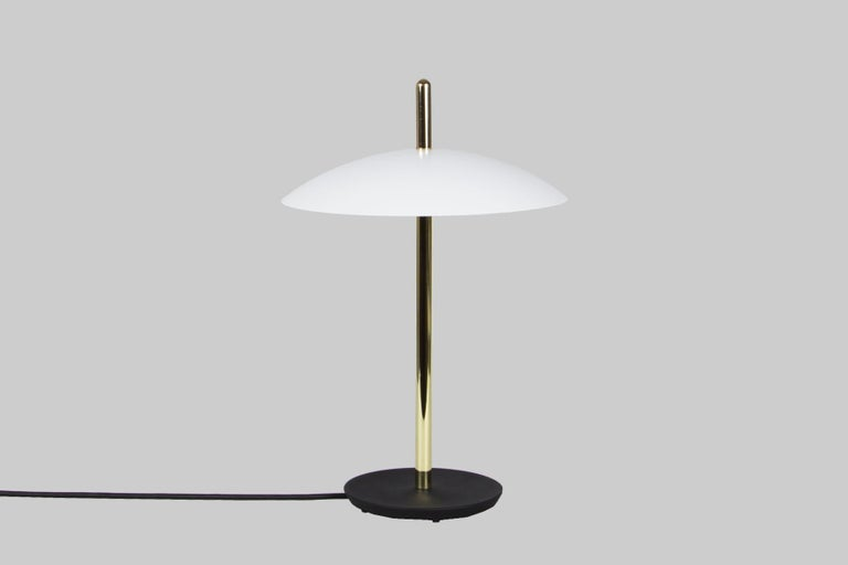 Cast Customizable Signal Table Lamp from Souda, Black and Brass, Made to Order For Sale