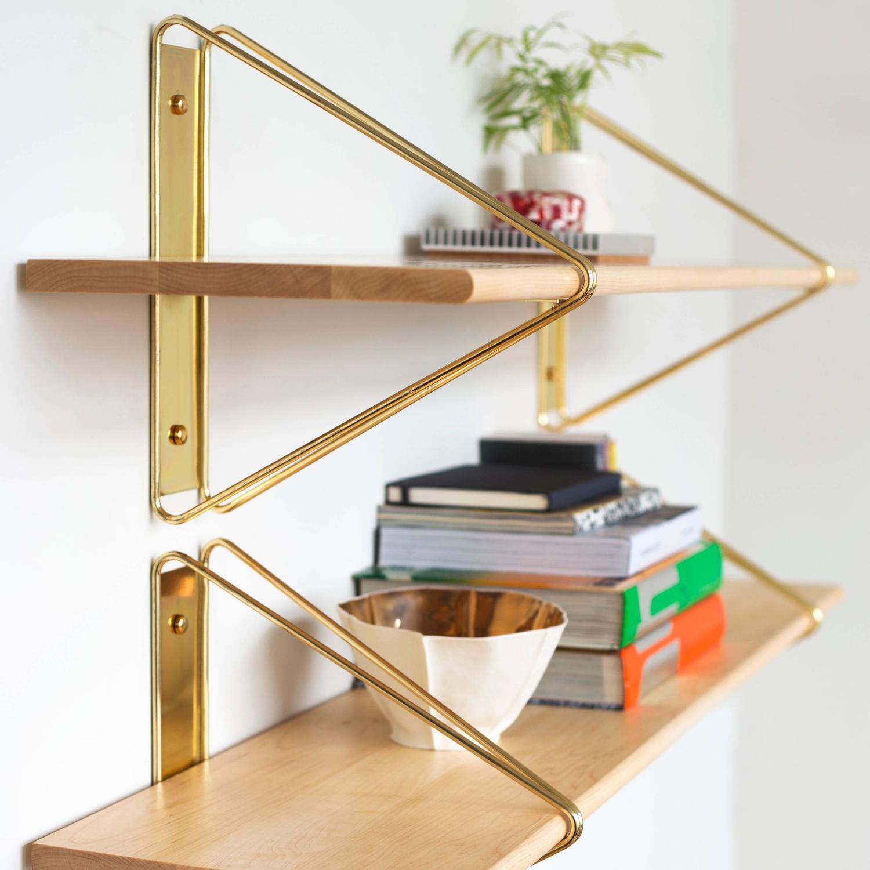 strut shelving system modern wood wall shelf with copper. Black Bedroom Furniture Sets. Home Design Ideas