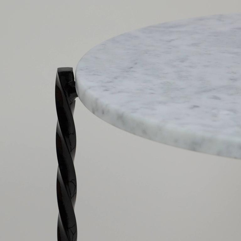 Modern Customizable Von Iron Side Table from Souda, Carrara Marble Top, Made to Order For Sale
