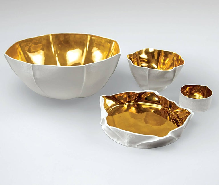 American Large Kawa Bowl with Gold Glaze by Luft Tanaka, Made to Order For Sale