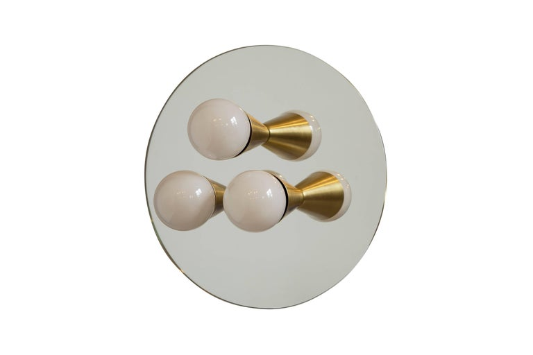 American Pair of Echo Three Sconces / Flush Mounts in Brass from Souda, Made to Order For Sale