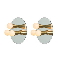 Pair of Echo Three Sconces / Flush Mounts in Brass from Souda, Made to Order