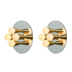 Pair of Echo Four Sconces / Flush Mount in Brass, from Souda, Made to Order