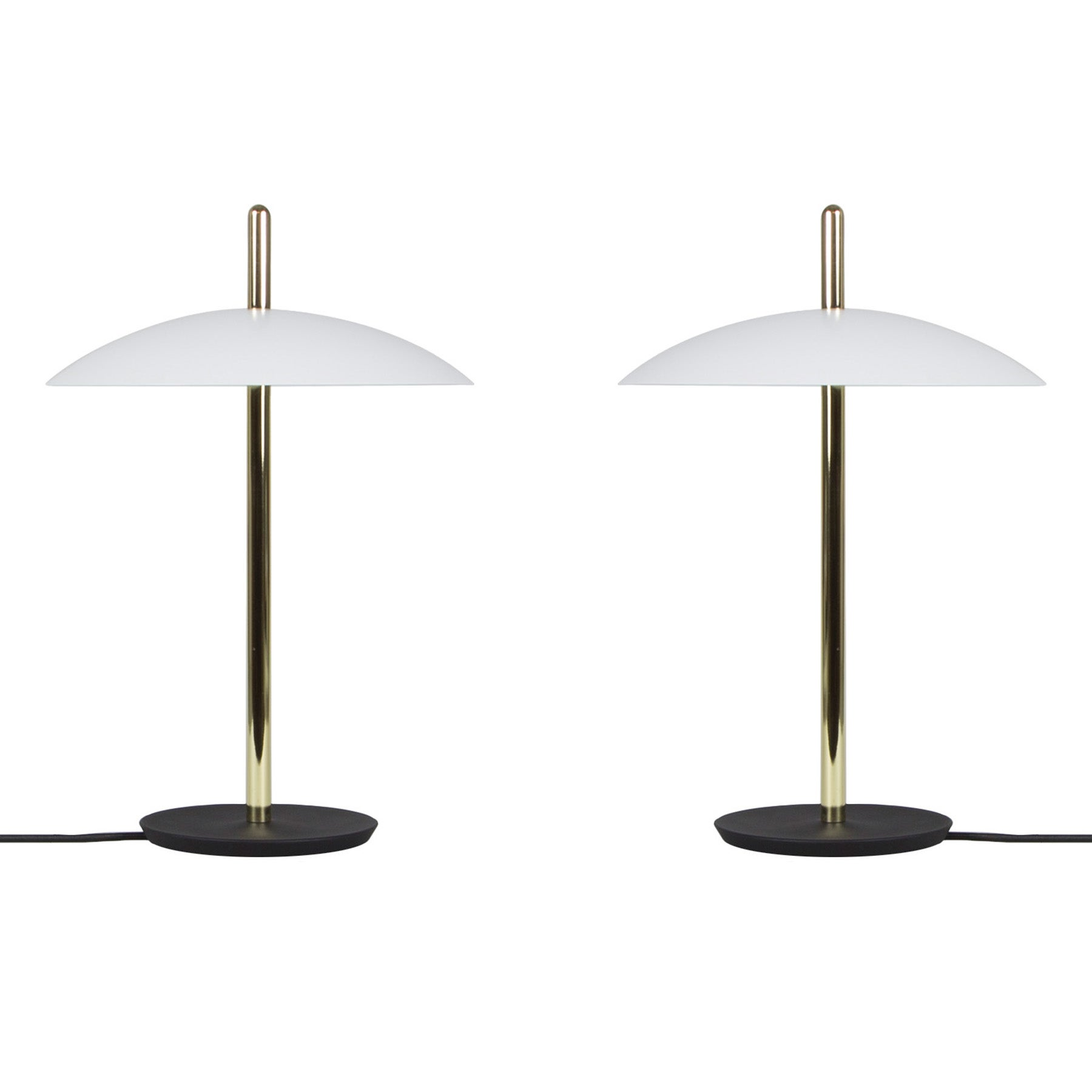 Customizable Pair of Signal Table Lamps from Souda, White x Brass, Made to Order