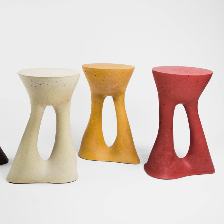 American Tall Mustard Kreten Side Table from Souda, Made to Order For Sale