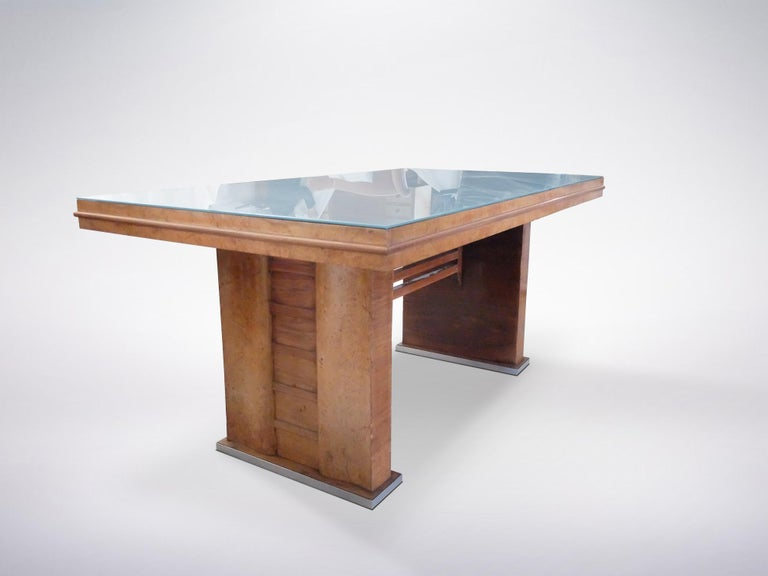 Italian Mid Century Wooden Desk With Blue Gl Table Top 1950s In Good Condition