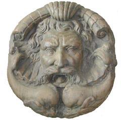 Big Terracotta Mask after Bartolomeo Bassi at Fontana del Mascheron, Roma