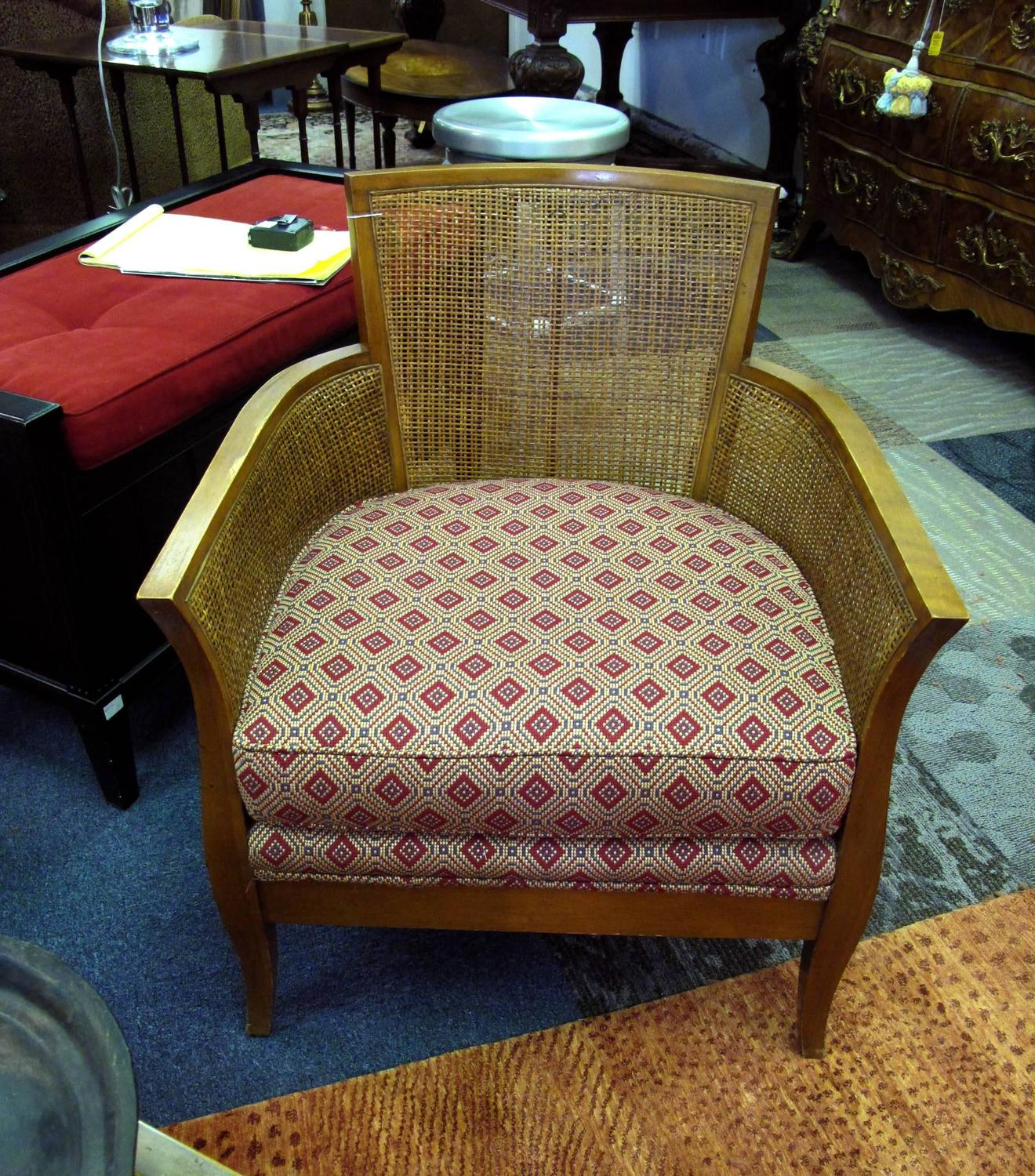 Tonir Upholstered Seat With Wicker Back Chair For Sale At