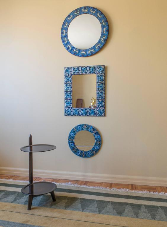 20th Century Bodil Eje, Unique Evergreen and Cobalt Enameled Copper Rectangular Wall Mirror For Sale