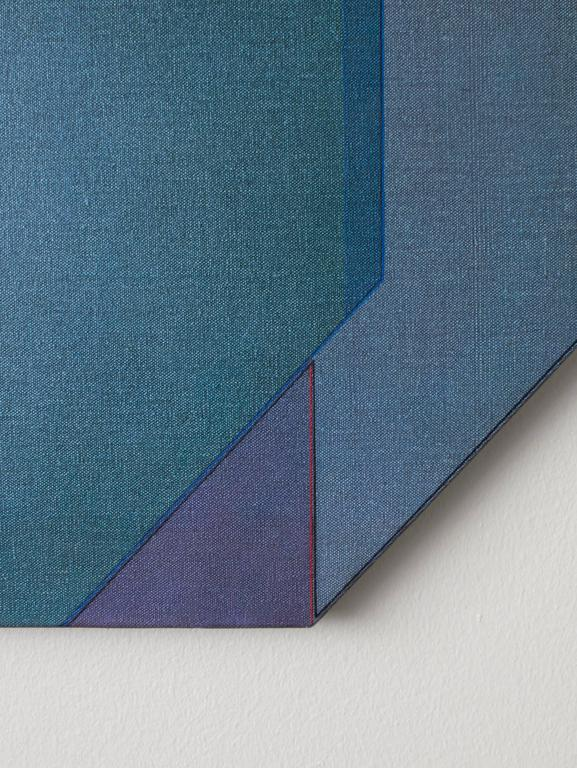 """Slate blue, teal and violet pigment on canvas, stretched over a geometric frame. Signed on the reverse: Carl Magnus - 89 - 90 """"Casharsis""""."""