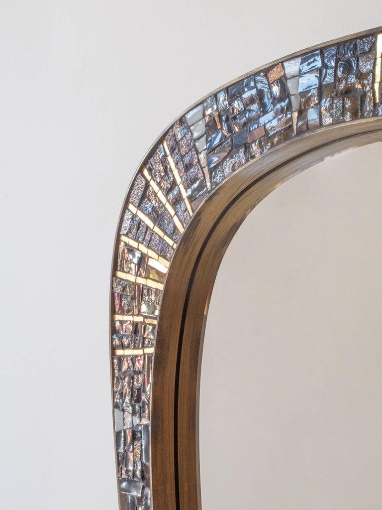 Mid-Century Modern Berthold Müller-Oerlinghausen, Unique German Modernist Mosaic and Brass Mirror For Sale