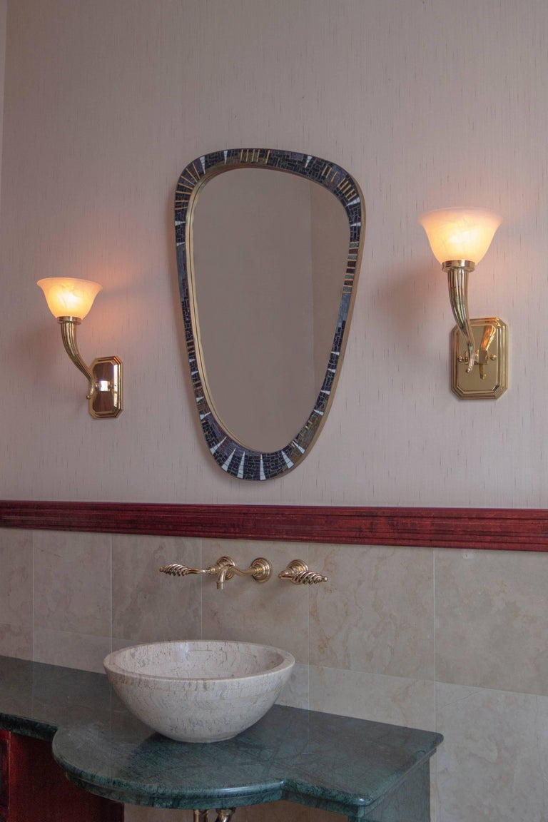20th Century Berthold Müller-Oerlinghausen, Unique German Modernist Mosaic and Brass Mirror For Sale