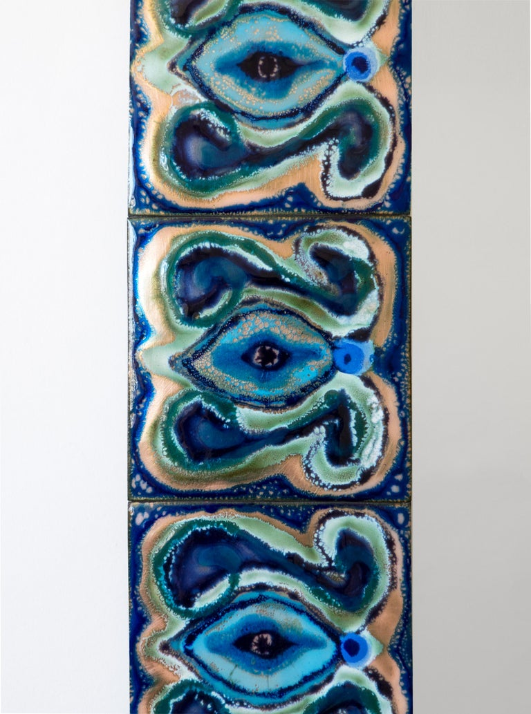 Scandinavian Modern Bodil Eje, Unique Evergreen and Cobalt Enameled Copper Rectangular Wall Mirror For Sale
