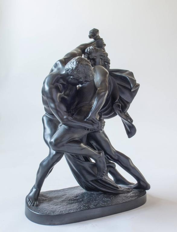 Lauritz Hjorth, a Graphite Stoneware Replica of the Bæltespænderne Sculpture In Good Condition In Philadelphia, PA