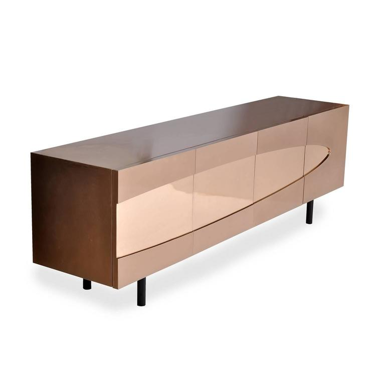 Ellipse Sideboard in Bronze with Turned Ebony Legs and Lacquer Interior In New Condition For Sale In Orange, CA