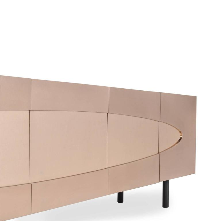 Contemporary Ellipse Sideboard in Bronze with Turned Ebony Legs and Lacquer Interior For Sale