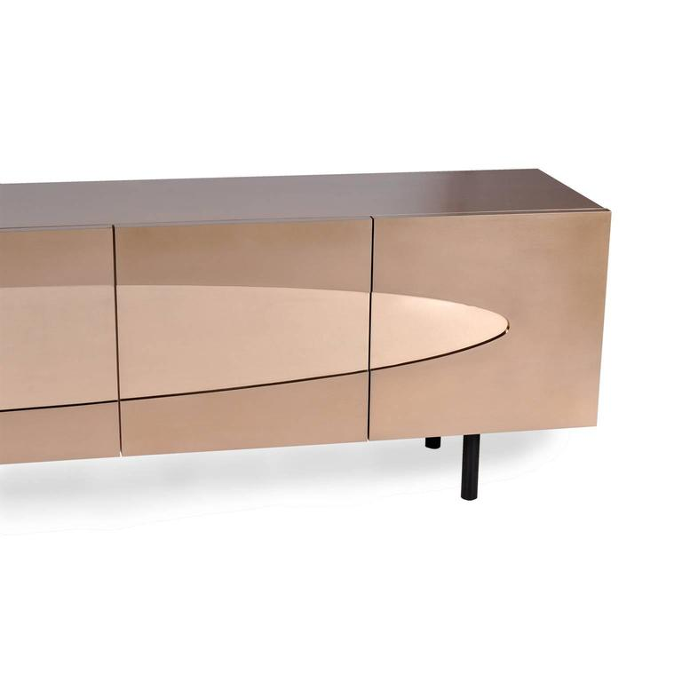 Ellipse Sideboard in Bronze with Turned Ebony Legs and Lacquer Interior For Sale 3