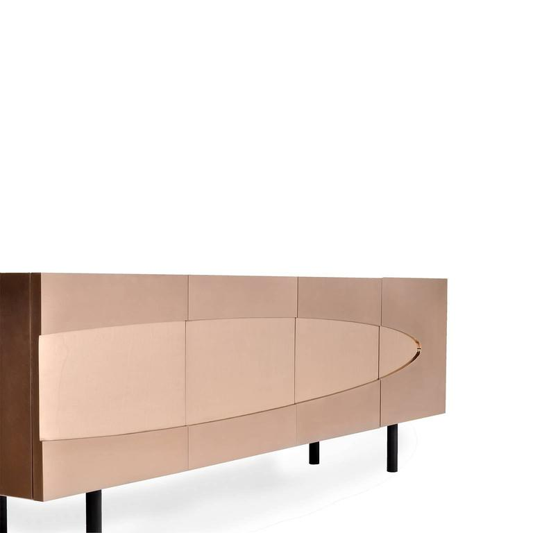 Ellipse Sideboard in Bronze with Turned Ebony Legs and Lacquer Interior For Sale 2
