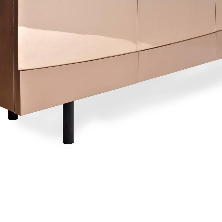 Ellipse Sideboard in Bronze with Turned Ebony Legs and Lacquer Interior For Sale 1