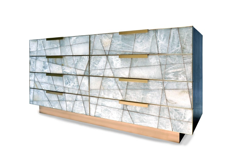 Mosaic Dresser in Selenite, Bronze and American Walnut by Newell Design In New Condition For Sale In Orange, CA