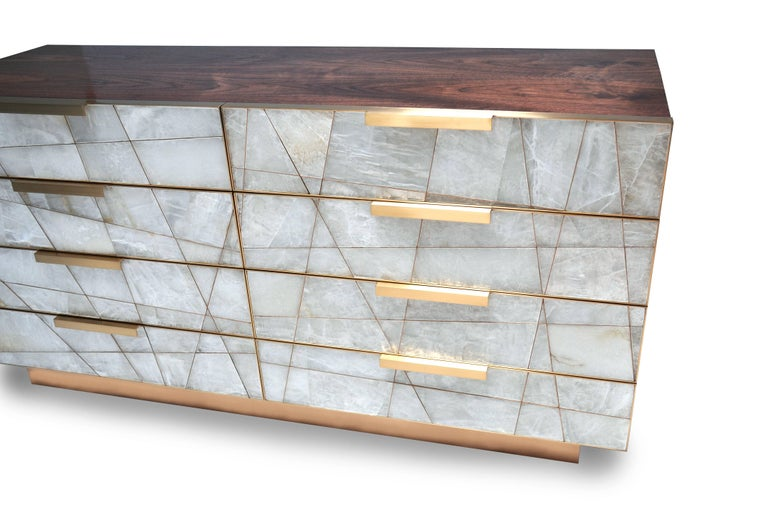Contemporary Mosaic Dresser in Selenite, Bronze and American Walnut by Newell Design For Sale