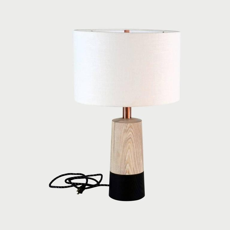 Turned Solid Wood Table Lamp For Sale