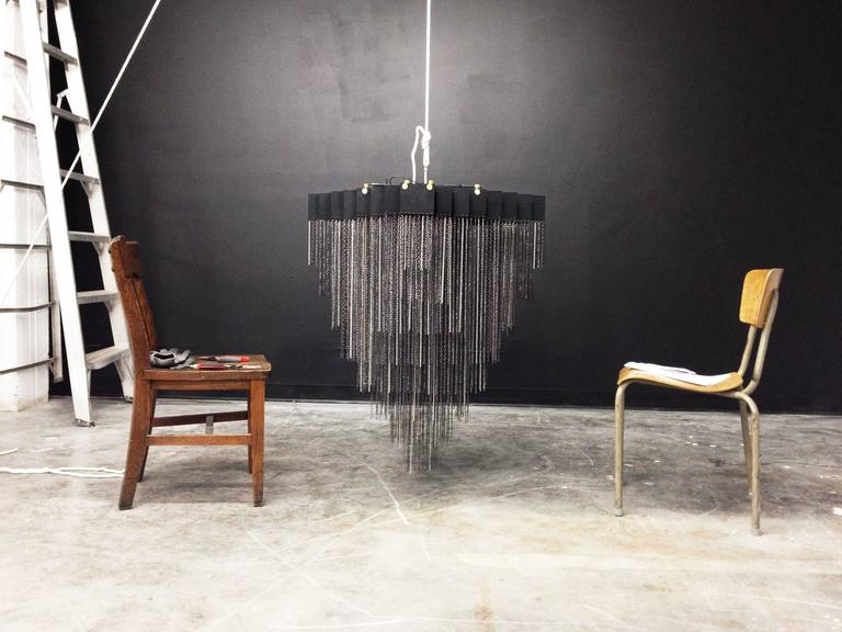 Canadian Kelly Chandelier with Blackened Steel and Satin Brass Chains For Sale