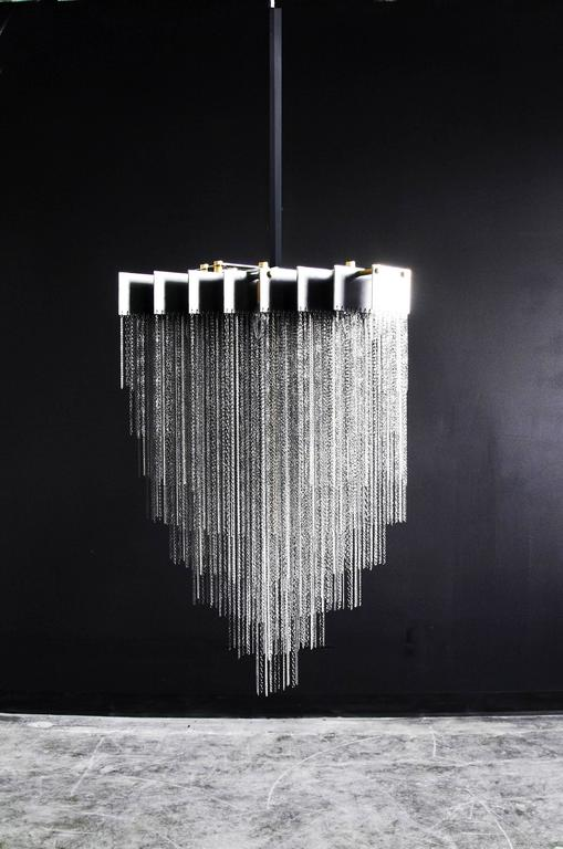 Modern Kelly Chandelier with Blackened Steel and Satin Brass Chains For Sale