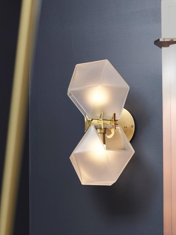 Modern Welles Glass Double Wall Sconce, White And Brass For Sale