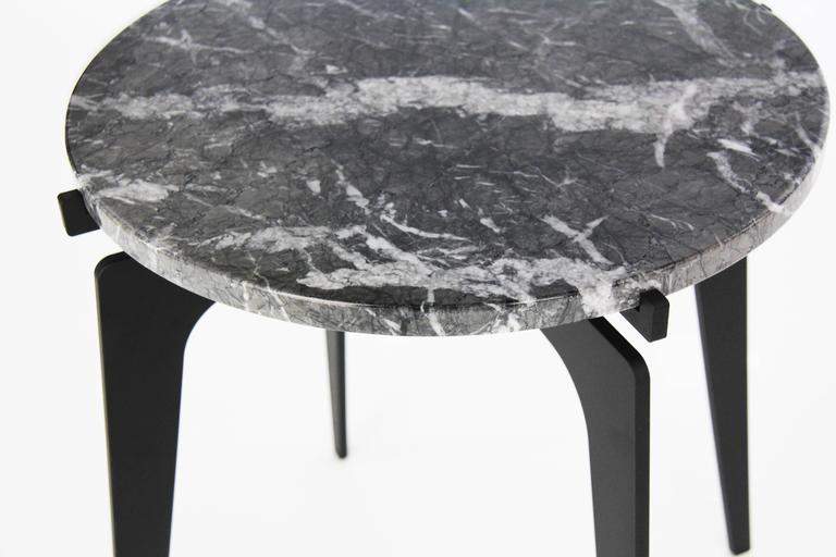 Blackened Prong Round Side Table For Sale