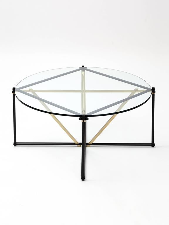 Tensegrity Furniture. Bronzed Tensegrity Coffee Table, Black And Satin  Brass With Clear Glass For