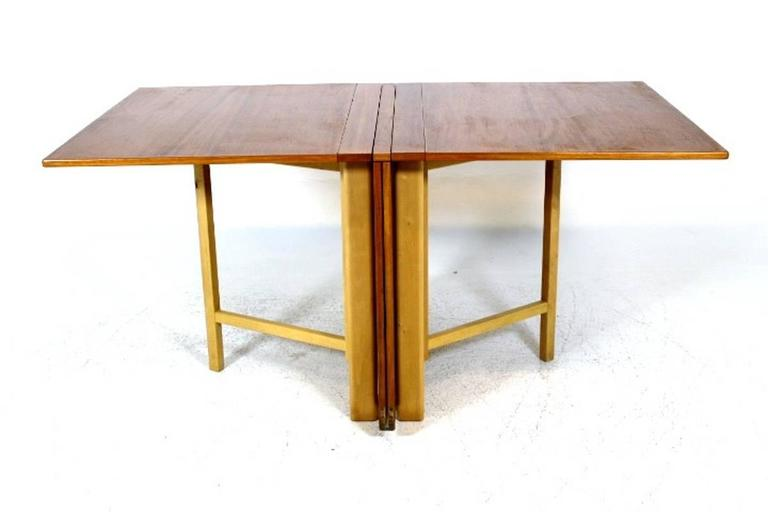 "Dining Table, ""Maria Flap"" Designed by Bruno Mathsson in Teak and Birchwood 3"