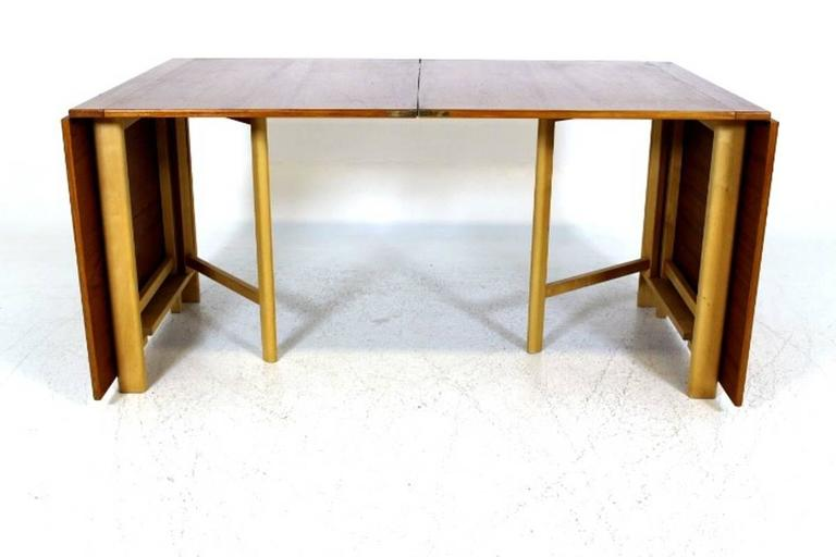 "Dining Table, ""Maria Flap"" Designed by Bruno Mathsson in Teak and Birchwood 5"