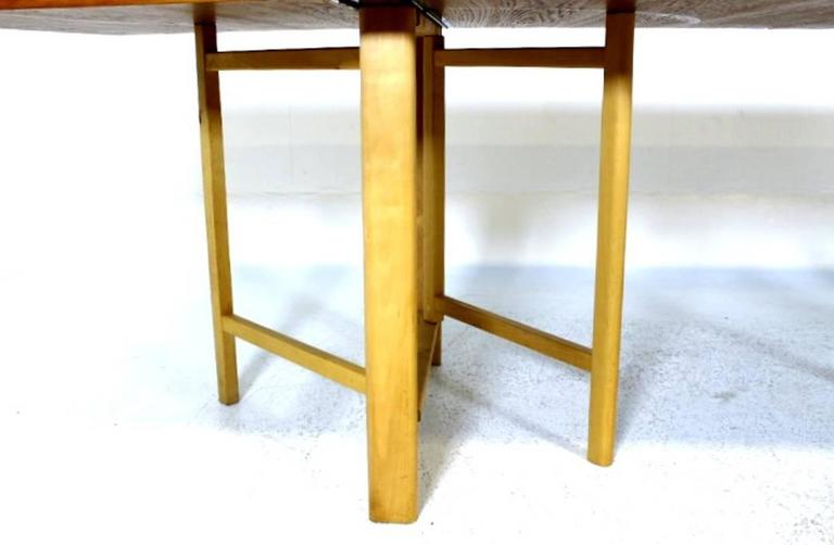 """Dining Table, """"Maria Flap"""" Designed by Bruno Mathsson in Teak and Birchwood 8"""