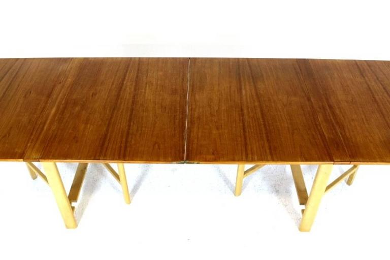 "Dining Table, ""Maria Flap"" Designed by Bruno Mathsson in Teak and Birchwood 6"