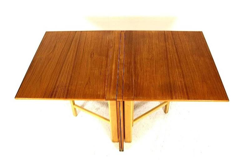 "Dining Table, ""Maria Flap"" Designed by Bruno Mathsson in Teak and Birchwood 4"