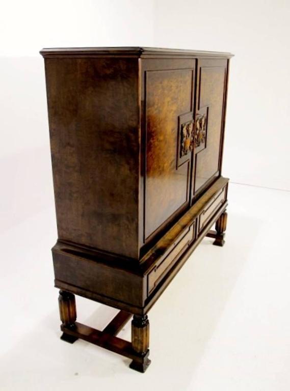Swedish Grace Cabinet Art Deco Flame Birch, 1920s 3