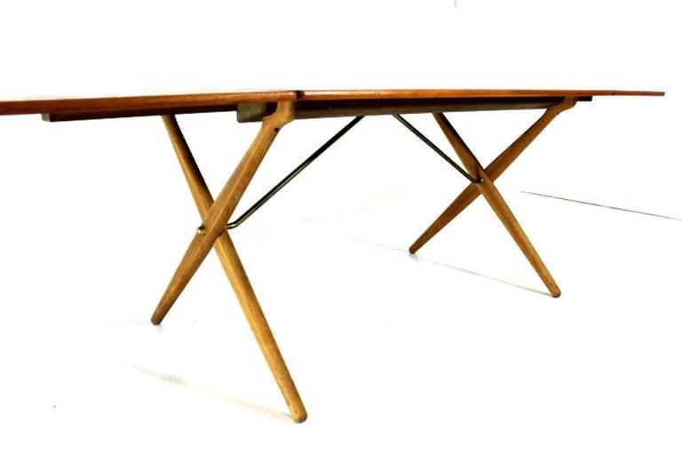 Scandinavian Modern Scandinavian Dining Table with Cross-Leg, At-309 Hans J Wegner for Andreas Tuck For Sale