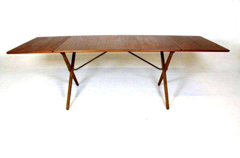 Danish Scandinavian Dining Table with Cross-Leg, At-309 Hans J Wegner for Andreas Tuck For Sale