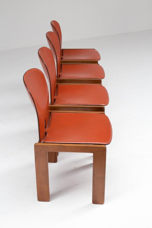 Four Cognac Leather Chairs by Tobia & Afra Scarpa for Cassina 2