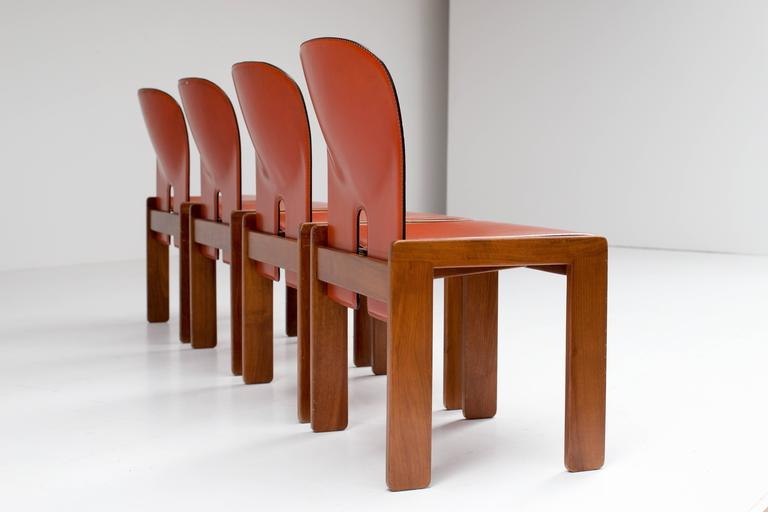 Four Cognac Leather Chairs by Tobia & Afra Scarpa for Cassina 3
