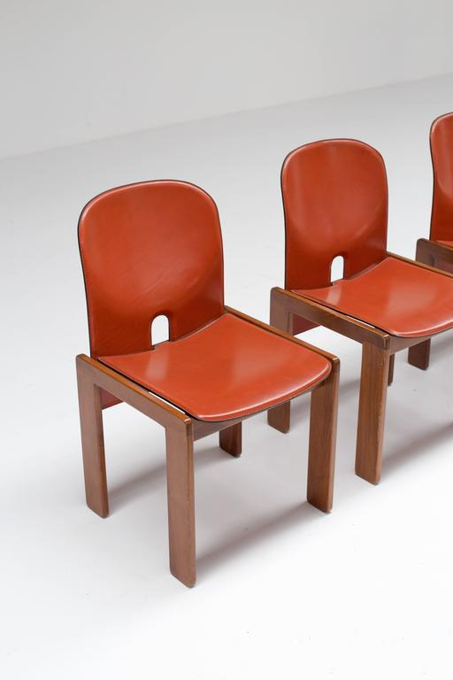 Four Cognac Leather Chairs by Tobia & Afra Scarpa for Cassina 4