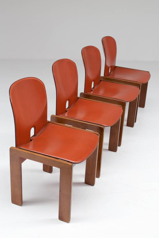Four Cognac Leather Chairs by Tobia & Afra Scarpa for Cassina 6